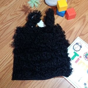 Ruffle petticoat top black